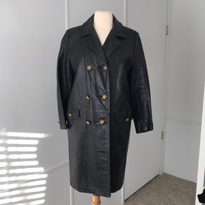 Vintage Double- Breasted Leather Long Jacket.